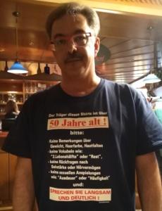 T-Shirts Sprüche zum 50er von Fritz Semper, Chef des Hauses, Nickis Restaurant, Gmünd